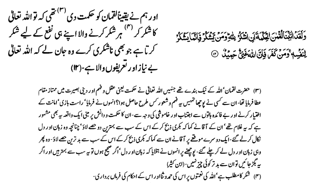 Surah Luqman (verse 12)
